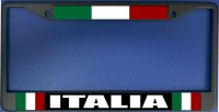 Italia With Flag Black License Plate Frame