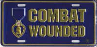 Combat Wounded Purple Heart Metal License Plate