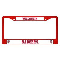 Wisconsin Badgers Anodized Red License Plate Frame