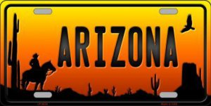 Cowboy Arizona Scenic Background Metal License Plate