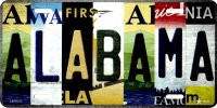 Alabama Strip Art Metal License Plate