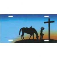 Cowgirl with Horse & Cross Airbrush License Plate