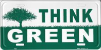 Think Green Metal License plate