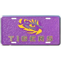 LSU Tigers Mosaic Metal License Plate