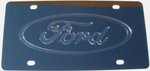 Ford Silver Logo Stainless Steel License Plate