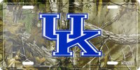 Kentucky Wildcats Woodland Metal License Plate