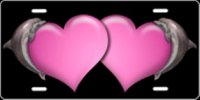 Dolphin Hearts (Pink) Airbrush License Plate