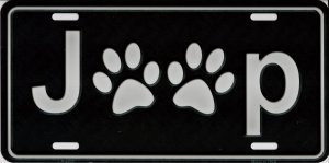Jeep With Paw Prints Metal License Plate