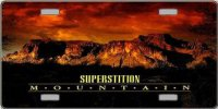 Arizona Superstition Mountains Sunset License Plate