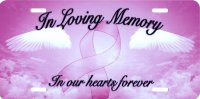 In Loving Memory Pink Ribbon License Plate