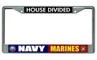 Navy Marines House Divided Chrome License Plate Frame