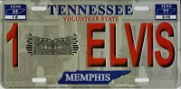 Tennessee 1 Elvis Look A Like Embossed Metal License Plate