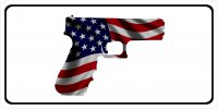 American Flag Handgun 2nd Amendment Photo License Plate