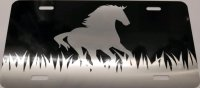 Brushed Aluminum Horse On Black Photo License Plate