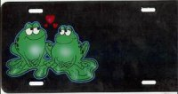 Frogs in Love Offset License Plate