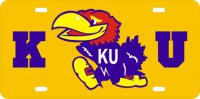 Kansas Jayhawks Gold laser License Plate