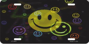 Multi Colored Smiley Metal License Plate