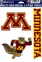 Minnesota Golden Gophers 3 Fan Pack Decals