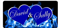 Blue Hearts With Blue Flames Photo License Plate