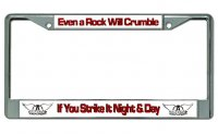 "Aerosmith ""Even A Rock Will Crumble"" Chrome License Plate Frame"