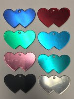 Double Heart Shaped Engravable Identification Tags