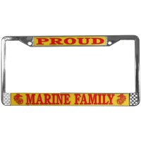 U.S. Marines Proud Marine Family Chrome License Plate Frame