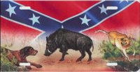Boar & Dogs on Rebel Flag License Plate