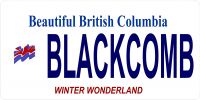 British Columbia Blackcomb Photo License Plate