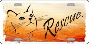 Rescue Cat Metal License Plate