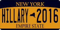 New York State Hillary 2016 Photo License Plate
