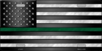 American Flag Thin Green Line Metal License Plate