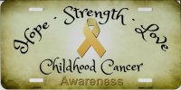 Hope Strength Love Childhood Cancer Awareness License Plate