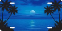 Blue Ocean Scene Palm Moon License Plate