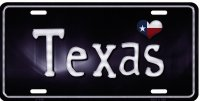 Texas Flag Script Metal License Plate