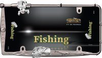 Fishing Black And Chrome License Plate Frame