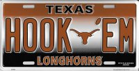 Texas Longhorns HOOK EM Metal License Plate