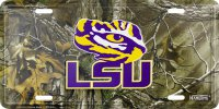 LSU Louisiana State Tigers Woodland Metal License Plate