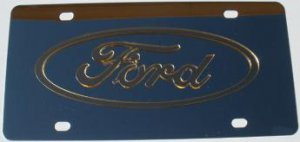Ford Gold Logo Stainless Steel License Plate