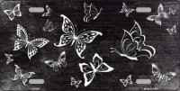 Black White Butterfly Print Oil Rubbed Metal License Plate