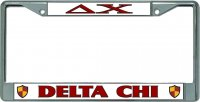 Delta Chi Chrome License Plate Frame