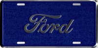 Ford Script Blue Metal License Plate
