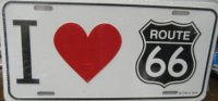I (heart) Route 66 License Plate