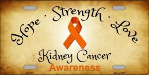 Kidney Cancer Ribbon Metal License Plate