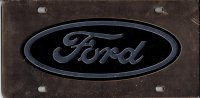 Ford Logo Black On Gold Laser License Plate