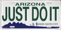 Arizona Just Do It Metal License Plate