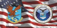 Aerospace Defense Command & Air Force On U.S. Flag Photo Plate