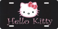 Hello Kitty Black Photo License Plate