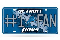 Detroit Lions #1 Fan Glitter License Plate