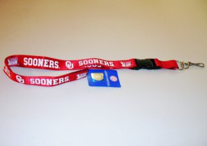 Oklahoma Sooners Red Lanyard With Safety Fastener