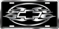 Chevrolet Flames Metal License Plate
